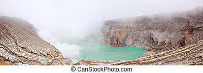 Panorama Khava Ijen Indonesia. - Panorama Crater of volcano...