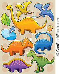 Dinosaurs Collection - cartoon illustration of various baby...