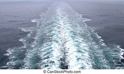 Foam left as ship go ahead, view from cruise liner stern,...