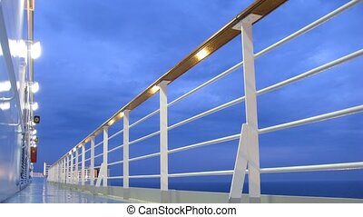 Cruise liner deck at evening time, time lapse