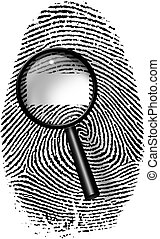 Fingerprint and magnify glass with blamk rectangle