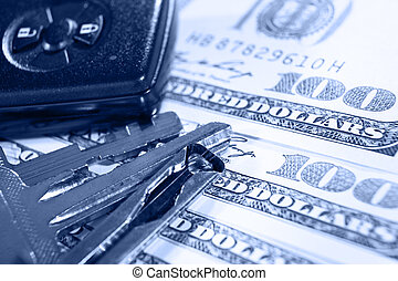 Car expenses - Keys and alarm device on top of several one...