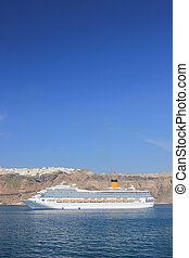 Santorini view (Greece) - travel background - Cruise ship in...