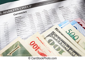 Foreign exchange sheet - Foreign exchange sheep paper with...