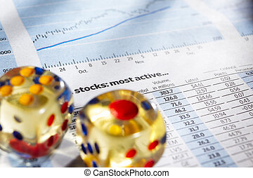 Risk on stock exchange - Two dices on stock data sheet for a...