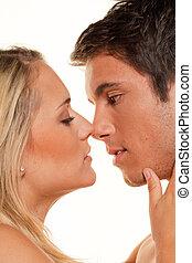 pareja, tiene, diversión, amor, erotismo, ternura