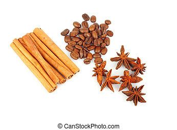 Spice for culinary - Coffee beans, anise stars and bunch of...