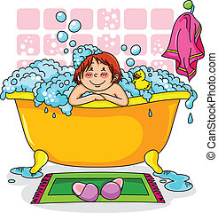 kid in the bath - happy kid in a bath full of foam