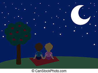 Starry night - A tender couple looking a romantic starry sky