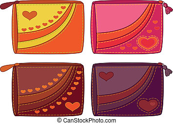 Set purses with valentine hearts