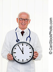 doctor with clock 11:55 - a doctor holding a clock. on the...