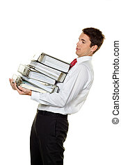 manager in the stress with stacks of files - a manager in...