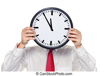 clock manager in front of the head with stress - a manager...