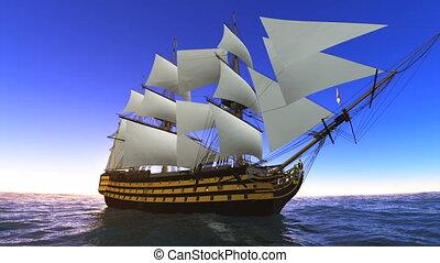 Sailing boat goes on voyage