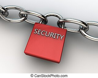 red security lock securing two chains