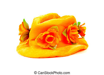 Orange hat with big flowers