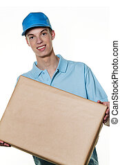 young man from package courier brings - a young man brings a...