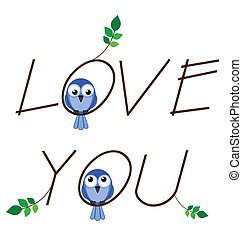 Love you twig text with two lovesick birds
