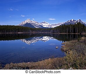 Herbert Lake, Canada - View across Herbert lake with snow...