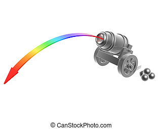 cannon with rainbow Trajectory - silver cannon with rainbow...