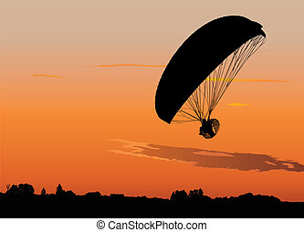 Powered paraglide - Silhouette of powered paraglide or...
