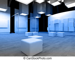 Art gallery with blank frames, modern building, conceptual...