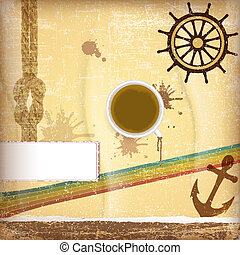 Nautical design elements - with cup of coffee
