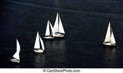 Regatta - Boats on the River Dnieper in the Ukrainian...