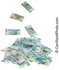 Cash - let it rain - A Polish money 100 zlotys rain