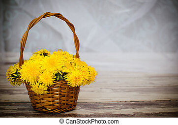Wicker backet with yellow flowers - Wicker backet with...