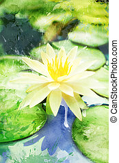Watercolor white water lily on a pond