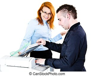 Working on copy machine - Office workers doing some copies...
