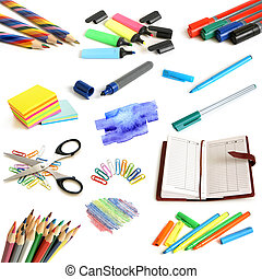 Office and school supplies collection on a white background