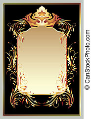 Luxurious golden ornament and crown - Background with...