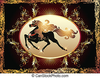 Galloping horse and luxurious ornament - Galloping black...