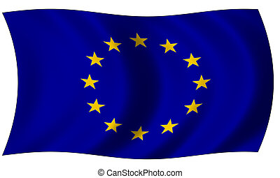 european union flag in wave
