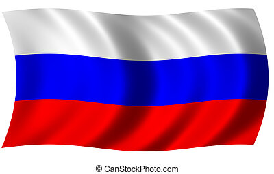 russia flag in wave