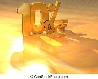 3D 10 Percent Gold Text