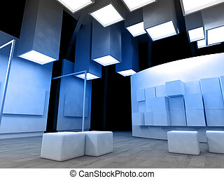 Art gallery with blank frames, modern building, conceptual architecture