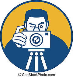 Photographer With Camera Retro - Illustration of a...
