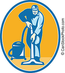Cleaner Janitor Worker Vacuum Cleaning - Illustration of a...