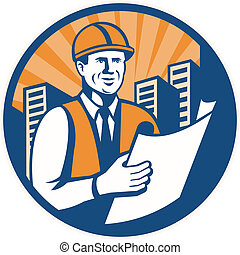 Construction Engineer Architect Foreman Retro - Illustration...