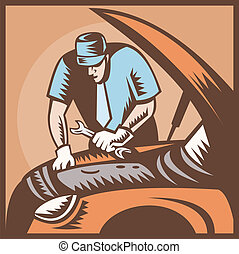 Automobile Mechanic Car Repair - Illustration of an...