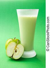 Green apple yogurt drink - Fresh green apple yogurt drink...