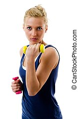 Biceps - Blonde girl using dumbbells to train her biceps