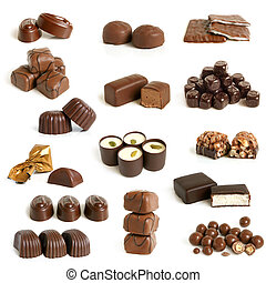 Chocolate sweets collection on a white background