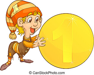 gnome and coins - Small gnome holding a gold coin Sweetheart...