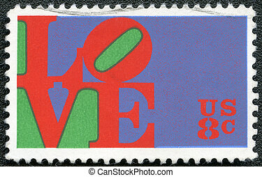 "USA - 1973: shows word ""love"", by Robert Indiana - USA -..."