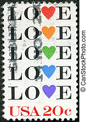 """USA - CIRCA 1984: shows word """"love"""" with stylized hearts"""