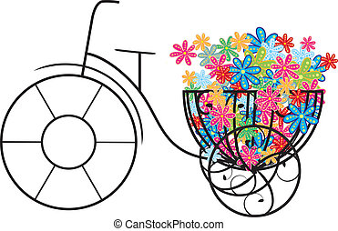 bike with flowers - illustration of bike with flowers